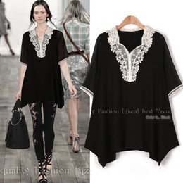 Wholesale-Janina Europe and the United States women's code after year five new fat mm long, loose Lace Chiffon shirt on