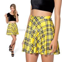 Plaid mini plaid skirt - Casual Skirts Womens Yellow Tartan Yellow Skater Skirt High Waist Fashion Mini Skirts Plaid Women Clothing
