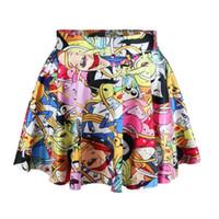 Wholesale Scolour New Women Sexy Vintage Digital Print Cartoon Pattern Skater Short Skirts