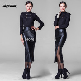 Discount Long Leather Pencil Skirt | 2017 Long Black Leather ...