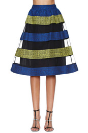 Wholesale New Arrival Women Skirt Faldas Tropical Mori Girl Fan Colorful Hit Color Stripe Gauze Skirt Waist Beautiful Lining Aierwill