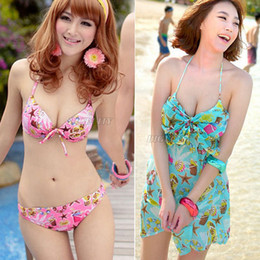 Wholesale-3pcs lot+ Womens Swimsuit Flower Halter Top Bottom Bikini Cover Up Dress Swimwear(NX20) Free Shipping