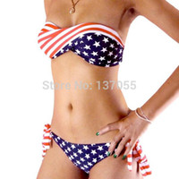 bandeau bikinis on sale - ON SALE swimsuit swimwear Women Sexy bikini STARS STRIPES USA Flag PADDED TWISTED BANDEAU swim suit tube swim wear SCW