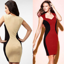 Wholesale-Newest Women's V-Neck inspired Optical Illusion Effect Contrast Bodycon Slimming Fitted Knee-Length Dress (Free Shipping)