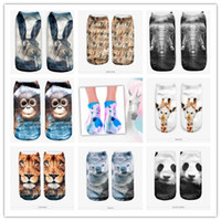 . animal mole - D digital printed socks Unisex Low Cut Ankle animals the elephant bear tiger lion monkdy squirrel penguin mole giraffe fish