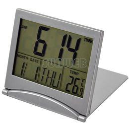 Wholesale Mini Desktop Multi function Electronic Simple Desk Digital LCD Thermometer Calendar Alarm Clock Dropshipping