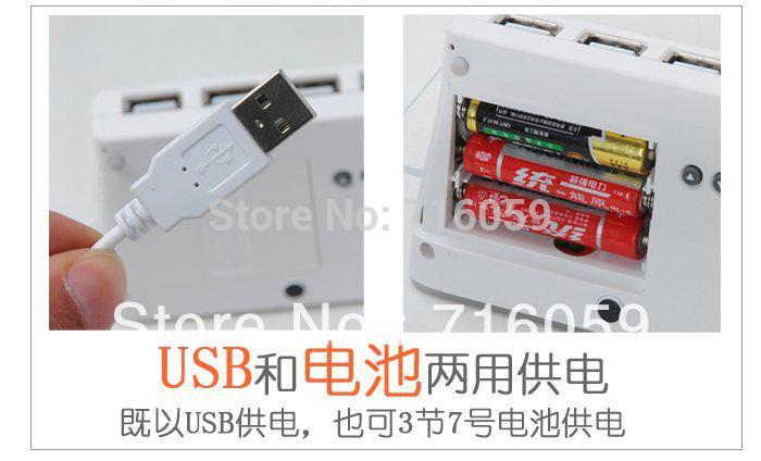 Wholesale-FREE SHIPPING USB LED Message Clock Fluorescence Alarm Clock with Memo Board&Calendar&4 Port Hubs Blue Green