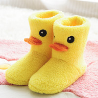 Wholesale New Women Warm Slippers Small Yellow Duck Plush Slipper Winter Women Chinelos Pantufa Feminina Inverno Quentes Shoes Women