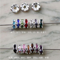 Wholesale 6MM Rondelle Rhinestone Spacer Beads Copper Silver Plated Mixed Color Rhinestones Findings