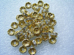 Wholesale 7MM Wheel shaped Clear Color Rhinestone Beads Gold Plated Crystal Spacers Jewelry Findings