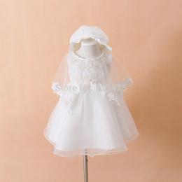Wholesale-Newborn Baby Christening Gown Infant Girl's White Princess Lace Baptism Dress Toddler Baby Girl Chiffon Dresses 3pcs set