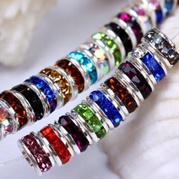 Wholesale 6MM Wheel shaped Mixed Rondelle Crystal Rhinestone Spacer Beads Silver Plated Gem Findings
