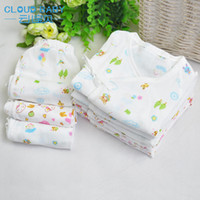 bamboo fibre clothing - Spring and summer baby gauze underwear set bamboo fibre baby monk clothing lacing newborn clothes