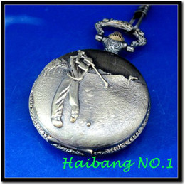 Wholesale New Antique Hitting Golf Ball Case Design Pendant Men s Necklace Vine Quartz Pocket Watches