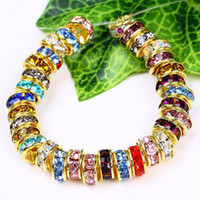 bead color wheel - 6MM Wheel shaped Crystal Spacer Beads Gold Plated Mixed Color Rhinestones Gem Findings