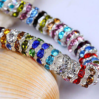 Wholesale 7MM Wave shaped Rondelle Rhinestone Crystal Silver Spacers Mixed Color Rhinestones Findings