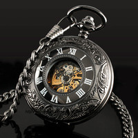 Antique mens pocket watches - Classic Steampunk Roman Dial Mechanical Skeleton Steel Mens Black Windup Pocket Watch