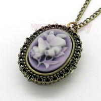 Wholesale Purple Butterfly Flower Pocket Watch Necklace Pendant Girl Lady Womens New