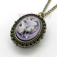 Wholesale Purple Butterfly Flower Pocket Watch Necklace Pendant Girl Lady Womens New