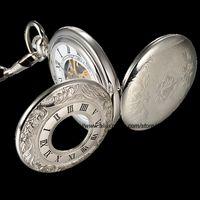 Antique steampunk watch - Silver Mechanical Steampunk Skeleton Roman Lid Full Hunter Hand winding Pendant Pocket Watch