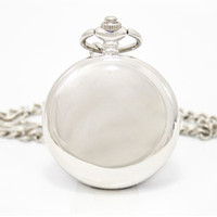 Wholesale Silver Fashion Steel Mechanical Pocket Watch Unisex Necklace Clock New GIFT FOB watch silver black two color