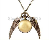 Wholesale Coupon of price good quality fashion woman lady silver wing Harry Potter gold golden snitch pocket watch necklace hour