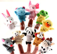 Cloth Animal 110083-10-028 Wholesale-Free Shipping Baby Plush Toy finger Puppets Tell Story Props(10 animal group) Animal Doll  Kids Toys  Children Gift F015