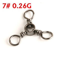 Wholesale-100pcs lot Free shipping High Quality 7# barrel triple swivels accessory connector fishing tackle fishing barrel triple swivlels