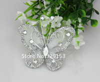 Wholesale Hot sale mm Silver Organza wire butterfly with glitter wedding decorations