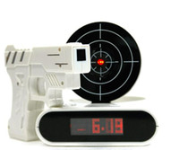 Wholesale Novelty Gift Gun Shoot Alarm clock with laser target Electronic Toy