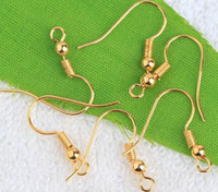 Wholesale Gold Plated Ear Wire Hooks With Coil Bead Copper Earring Findings Nickel Free Sold Per