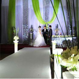 Wholesale M unit corlors Pearlizing Ice Silk Curtain Wedding Birthday Party Baby Shower Decoration Satin Fabric