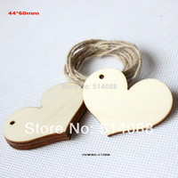 Wholesale Unfinished blank cutouts wooden wishing tree tags wood love heart wedding tags string hanging CT1058