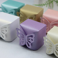 Wholesale New Lovely Butterfly Pattern Elegant Pearl Paper Wedding Party Favor Gift Candy Box