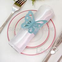 aqua paper napkins - Aqua Blue Butterfly Paper Napkin Rings