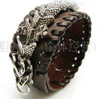 Bangle Asian & East Indian Men's Wholesale - Chinese dragon Leather Bracelet jewelry 5pcs lot mix order