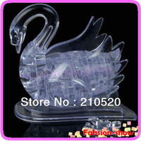 Wholesale U95 quot Hot Sell D Crystal Puzzle Jigsaw Model DIY Swan IQ Toy Gift Souptoy Furnish Gadget