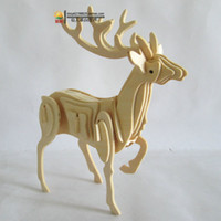 Wholesale New fancy Intelligent educational toy D animal model WOODEN PUZZLE DIY WOODCRAFT CONSTRUCTION KIT handmade DEER W A004