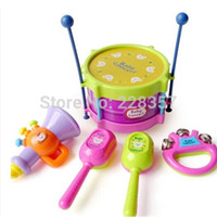Wholesale New Baby piano Roll Drum Musical classic Rattles toys years Instruments Band Kit for Kids Children and Baby Gift Set