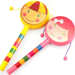 Wholesale-Cartoon smile rattle-drums double faced hand bell traditional baby wave drum child early learning toy