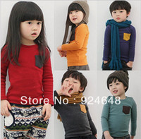 Wholesale children s sweater winter explosion models boys and girls candy color pocket knit bottoming sweater coat primer shirt