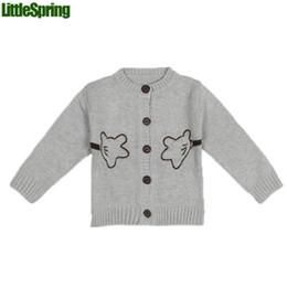 Wholesale LittleSpring HUG ME Baby boy girl Cartoon sweater Kids cute Autumn Winter cool sweater tops Baby clothes