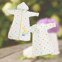 Cheap Wholesale-100% Cotton Pajamas Baby Sleepers Kids Sleeping Bag Clothes Velour Pile Sleepsack Newborn Zipper Romper Unisex Free Shipping