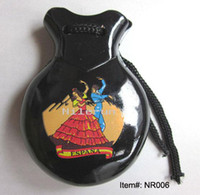 Wholesale percussion instrument toy black Spanish wood castanets