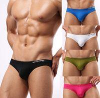 Cheap Wholesale-5pcs Mens Sexy Underwear Briefs Brave Person Brand Nylon Gay Wear Pouch Wonderjock Brief for Man 2015 New Swimwear Bikini Swim