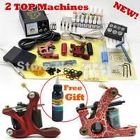 Beginner Kit DHL Guangdong, China (Mainland) Wholesale-2 Guns Professional Tattoo Machine Kit 14 Colors 5ml Inks Power Tips needles Supply Tattoos set Equipment Free Shipping
