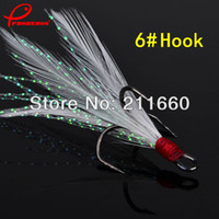 Cheap Wholesale-100pc Lot fishhook Black Color 0.45g Weight 6# Fishing Hook with feather Fishing Tackle Fishing Lure Free Shipping