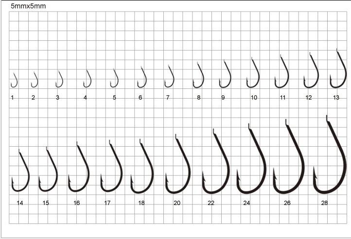 2018 wholesale 8 size 1 16 fresh water saltwater fishing for Fishing hook size chart actual size