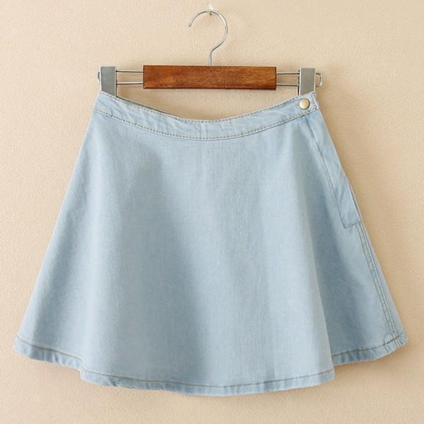 Wholesale-Factory Price! Women Girls Summer Denim A-line High Waist Circle Pleated Sexy Skirts Mini Skirt