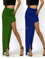 Wholesale New Fashion Summer Sexy Women Long Skirts Lady Open Side Split Skirt Long Maxi Skirt Khaki Black